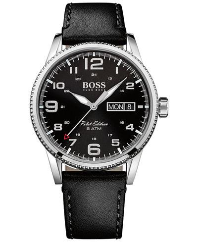 BOSS Hugo Boss Men's Pilot Black Leather Strap Watch 44mm 1513330