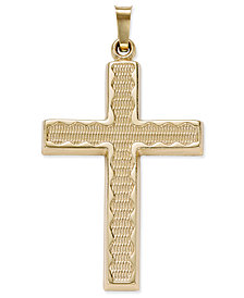 Rippled Edge Cross Pendant in 14k Gold