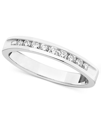 certified band ring in 14k white gold 1 4 ct t w