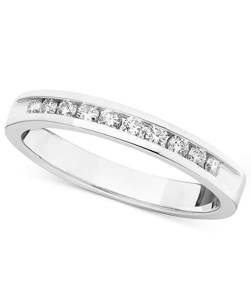 Macy's Certified Diamond Band Ring in 14k White Gold (1/4 ct. t.w.)