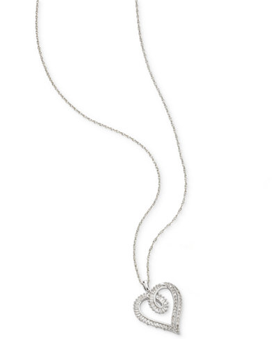 Diamond Heart Pendant Necklace (1/2 ct. t.w.) in Sterling Silver