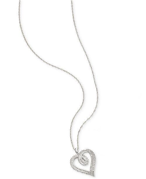 Macy's Diamond Heart Pendant Necklace (1/2 ct. t.w.) in Sterling Silver