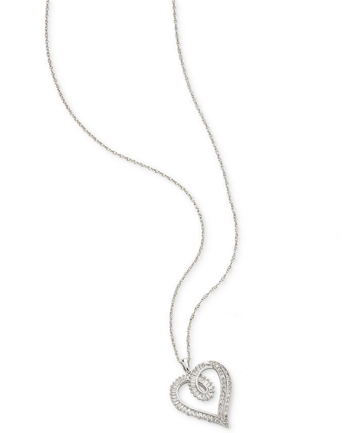 Macy's - Diamond Heart Pendant Necklace (1/2 ct. t.w.) in Sterling Silver