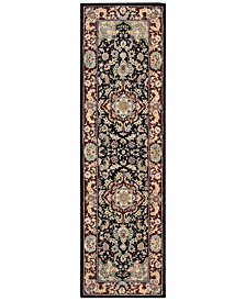 "Nourison Wool & Silk 2000 2005 Black 2'3"" x 8' Runner Rug"