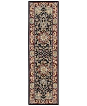 "Nourison Wool & Silk 2000 2005 Black 2'6"" x 12' Runner Rug"