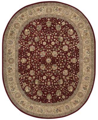 "CLOSEOUT! Wool & Silk 2000 2107 Burgundy 7'6"" x 9'6"" Oval Rug"