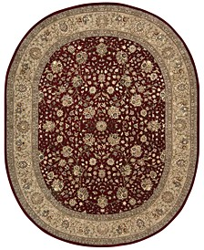 "CLOSEOUT! Wool & Silk 2000 2107 Burgundy 7'6"" x 9'6"" Oval Rug"