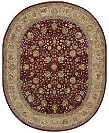 "CLOSEOUT! Nourison Wool & Silk 2000 2107 Burgundy 7'6"" x 9'6"" Oval Rug"