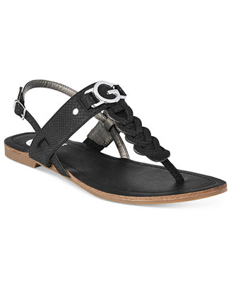 G By Guess Lorrie T Strap Flat Sandals Sandals Shoes