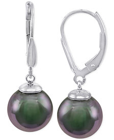 Majorica Sterling Silver Black Imitation Pearl (10mm) Drop Earrings