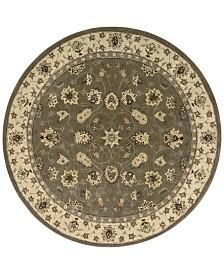 Nourison Round Area Rug, Wool & Silk 2000 2003 Olive 4'