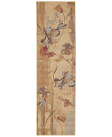 "CLOSEOUT! Nourison Area Rug, Somerset ST18 Art Flower Beige 2' 3"" x 8' Runner Rug"