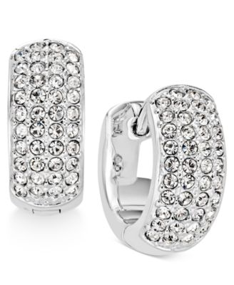 Image of Danori Silver-Tone Pavé Hoop Earrings, Created for Macy's