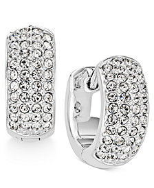 "Danori Silver-Tone Pavé 1/2"" Hoop Earrings, Created for Macy's"