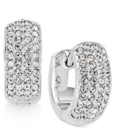 Danori Silver-Tone Pavé Hoop Earrings, Created for Macy's