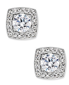 Danori Silver-Tone Multi-Crystal Square Stud Earrings, Created for Macy's