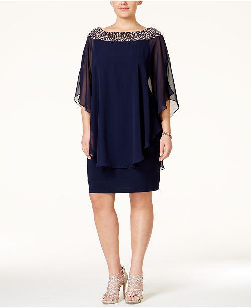 ff2df8fccbc1f XSCAPE Plus Size Beaded Chiffon Capelet Dress & Reviews - Dresses ...