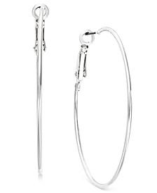 INC Silver-Tone Slim Hoop Earrings, Created for Macy's