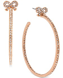 Medium Rose Gold-Tone Crystal Bow Hoop Earrings