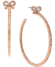 Betsey Johnson Medium Rose Gold-Tone Crystal Bow Hoop Earrings