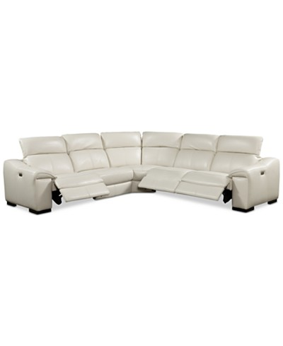 Kelsee 5-pc Leather Sectional Sofa with 3 Power Recliners with Articulating Headrest, Created for Macy's