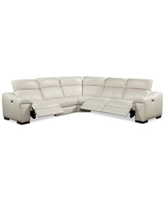 kelsee 5pc leather sectional sofa with 3 power recliners with headrests created - Leather Sectional Couch