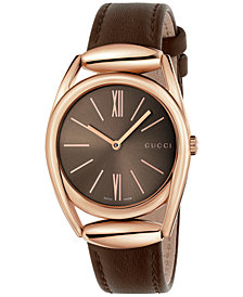 Gucci Women's Swiss Horsebit Brown Leather Strap Watch 34mm YA140408