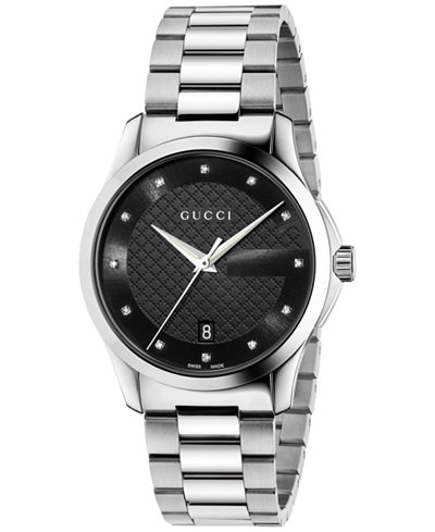 Gucci Unisex Swiss G-Timeless Diamond Accent Stainless Steel Bracelet Watch 38mm YA126456