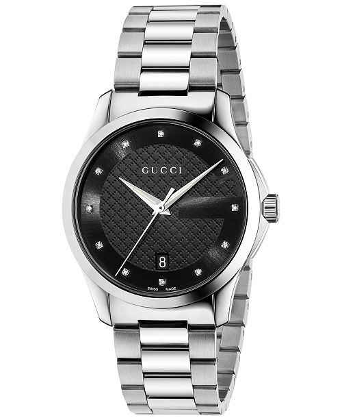 c010cf149a4 ... Gucci Unisex Swiss G-Timeless Diamond Accent Stainless Steel Bracelet  Watch 38mm YA126456 ...