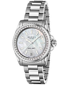 Gucci Women's Swiss Dive Diamond (1/2 ct. t.w.) Stainless Steel Bracelet Watch 32mm YA136406