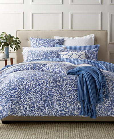 Charter Club Damask Designs Paisley Denim 3 Piece Comforter Sets, Created for Macy's