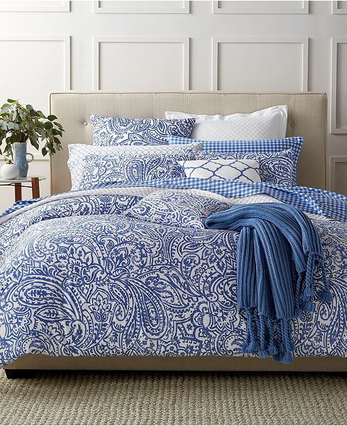Charter Club Paisley Denim 3 Piece Duvet Sets, Created for Macy's