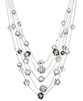 "INC International Concepts 17.5"" Silver-Tone Mixed Bead Layer Necklace, Created for Macy's"
