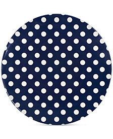kate spade new york Raise a Glass Collection Blue Polka Dot Dinner Plate, A Macy's Exclusive