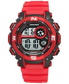 Men's Digital Chronograph Red Strap Watch 54mm 40-8284RDBK