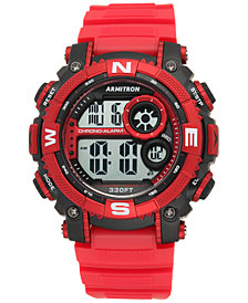 Armitron Men's Digital Chronograph Red Strap Watch 54mm 40-8284RDBK