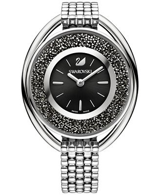 Swarovski Women's Swiss Crystalline Crystal Accent Stainless Steel Mesh Bracelet Watch 43mm