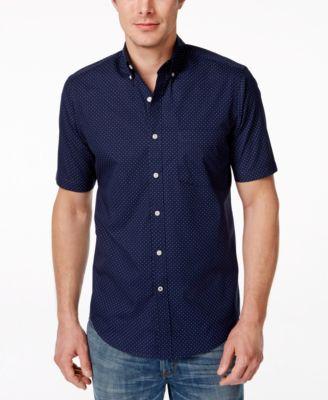 Club Room Mens Barry Dot-Print Button Up Shirt