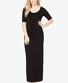 Motherhood Maternity Elbow-Sleeve Maxi Dress