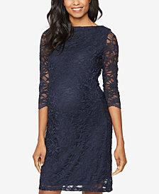 Taylor Maternity Lace Three-Quarter-Sleeve Dress