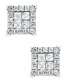 Diamond Square Stud Earrings (1 ct. t.w.) in 14k White Gold