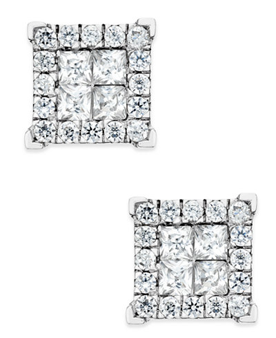 Diamond Square Stud Earrings (1 ct. t.w.) in 14k White Gold