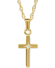 Gold cross pendant shop gold cross pendant macys childrens diamond accent cross pendant necklace mozeypictures Image collections