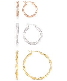 3-Pc. Set Textured Round Hoop Earrings in 14k Rose, White, & Yellow Gold Over Sterling Silver