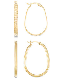 2-Pc. Brushed and Polished Oval Hoop Earrings Set in 14k Gold Over Sterling Silver