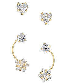 Cubic Zirconia 2-Pc. Set Heart Stud and Shooting Star Drop Earrings