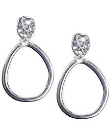 Anne Klein Hammered-Style E-Z Comfort Clip-on Drop Hoop Earrings