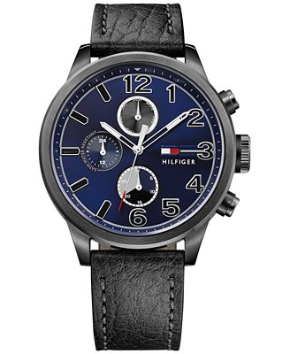 Tommy Hilfiger Men's Casual Sport Black Leather Strap Watch 44mm 1791241