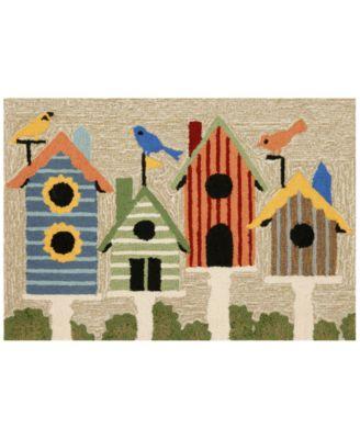 Liora Manne Front Porch Indoor/Outdoor Birdhouses Multi 2' x 3' Area Rug