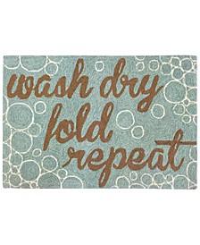 Liora Manne Front Porch Indoor/Outdoor Wash...And Repeat Aqua 2'6'' x 4' Area Rug